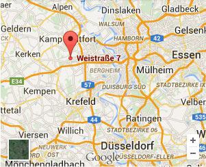 Wegkarte zur Anfahrt zu unserer Ferienwohnung in Neukirchen-Vluyn am Niederrhein